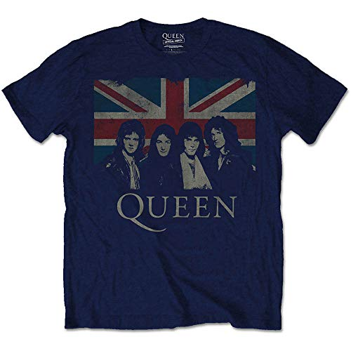 Rockoff Trade Men's Queen Vintage Union Jack T-Shirt (Medium, Navy)