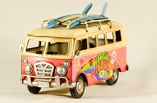 EliteTreasures Retro Metal Collectible Pink VW Hippie Van Model - VW Camper decor Surfboards on roof - 10
