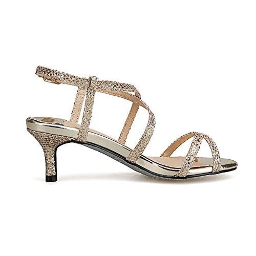 Solid AllhqFashion Open Kitten Sandals Womens Buckle Toe Gold Heels xq1Ua