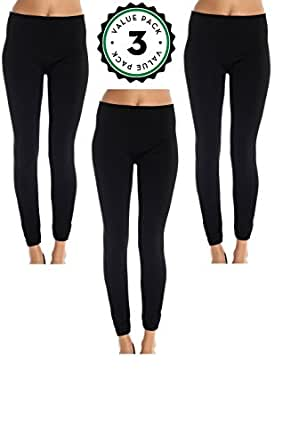 Womens Leggings Fleece Lined, Leg Warmers Black (3 Pack) (Small / Medium, 3 Pack Black)