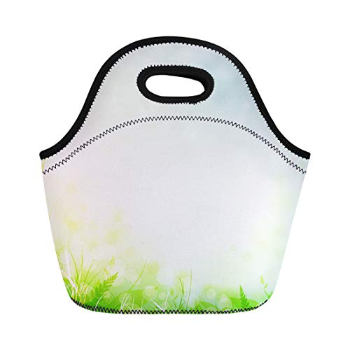 Tinmun Lunch Tote Bag Leaf Spring Meadow Green Grass Over Blue Sky Copyspace Reusable Neoprene Bags Insulated Thermal Picnic Handbag for Women Men