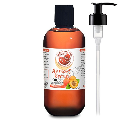 NEW Apricot Kernel Oil. 8oz. Cold-pressed. Unrefined. Organic. 100% Pure. Anti-aging. Hexane-free. Hair Growth Oil. Natural Moisturizer. For Hair, Face, Body, Nails, Stretch (Belli Hair Body Wash)