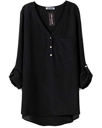 Najia Symbol Womens Summer Casual Long Sleeve Sheer Chiffon Shirts (Black, M)