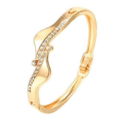 [Fashine 14K S-type Solid Diamond Cut Bracelet with Gold-Plated Brass] (Diamond Steel Bangle)