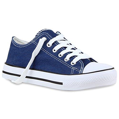 Stiefelparadies Damen Sneakers Glitzer Blumen Sneaker Low Stoffschuhe Denim Animal Prints Canvas Schuhe Übergrößen Flandell Blau Denim