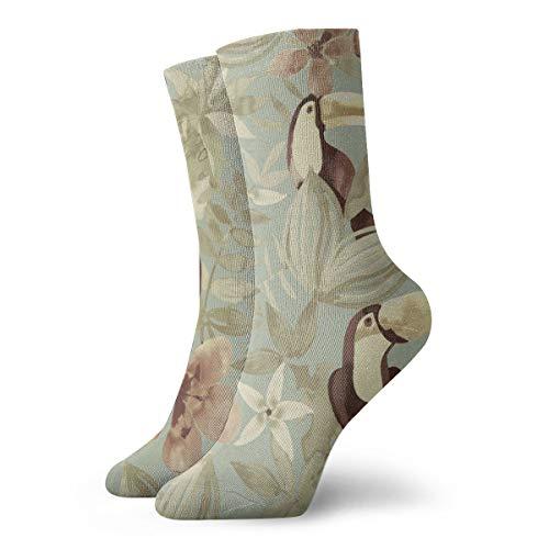 Unisex High Ankle Cushion Crew Socks Bird Flower Casual Sport Socks