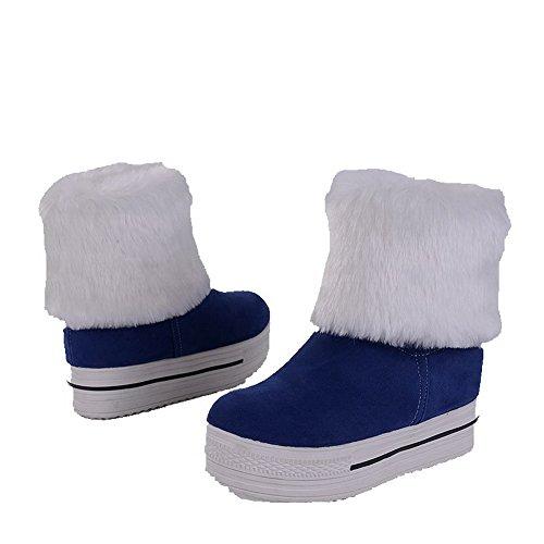 AgooLar Damen Niedriger Absatz Mattglasbirne Rein Ziehen auf Rund Zehe Stiefel Blau