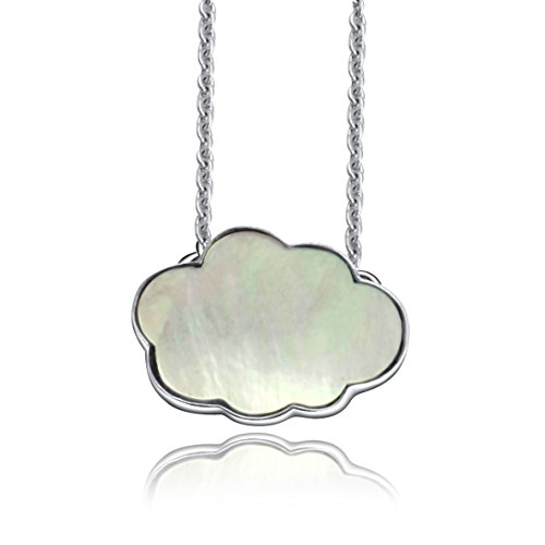 ANNIE'S Rhodium Plated Sterling Silver Featured with Mother of Pearl Pendant Necklace 18