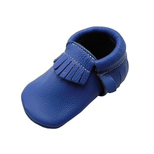 (YIHAKIDS Baby Tassel Shoes Soft Leather Sole Infant Kids Crib Toddler First Walkers Moccasins Blue(size 5,6-12 months/4.9in))