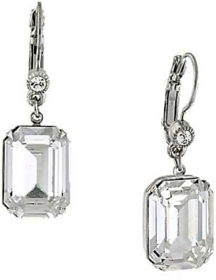 1928 Jewelry Zarina Crystal Drop Emerald Cut Silver-Tone Genuine Swarovski Crystal Square Drop Earrings