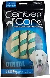Pet Factory 75535 USA Center Core 6 Combination Dental Fusion Rawhide Rolls 3 Pack