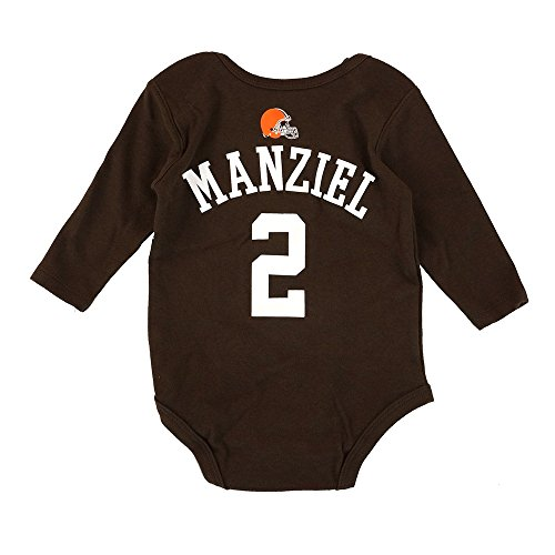 Outerstuff Johnny Manziel NFL Cleveland Browns Brown Infant Jersey Long Sleeve Creeper