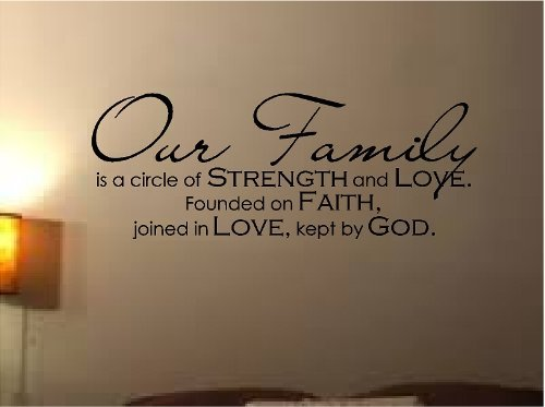 LETTERING FAMILY CIRCLE STRENGTH FOUNDED
