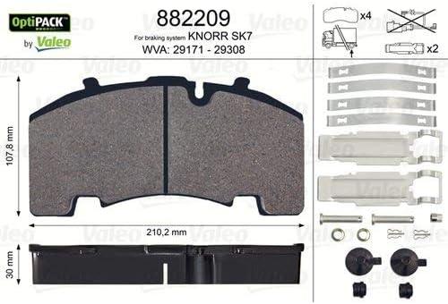 Valeo 882209 Optipack Bremsbelagsatz Scheibenbremse 4 Teilig Auto