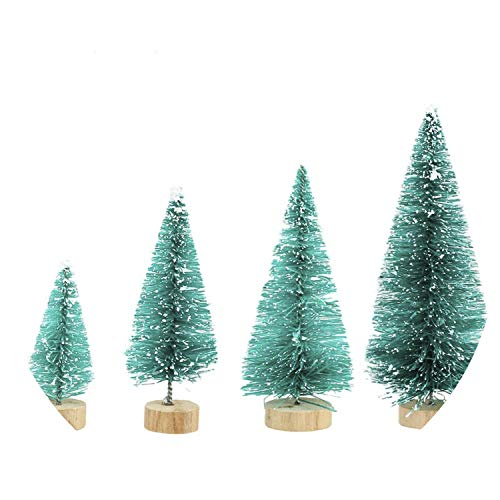 4pcs Wood Mini Christmas Tree Decorations Year's Artificial Tree Fake Christmas Tree Pine on The Table,Teal Blue ()