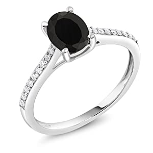 0.80 Ct Oval Black Onyx 10K White Gold Ring with Accent Diamond