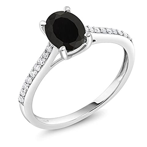 10K White Gold Diamond Accent Engagement Ring Oval Black Onyx (1.35 Cttw, Available in size 5, 6, 7, 8, - Set Oval Onyx Ring