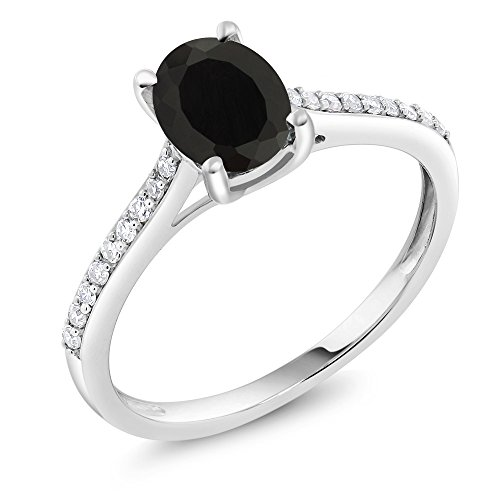 (Gem Stone King 10K White Gold Black Onyx and Diamond Engagement Solitaire Ring 1.35 cttw 8x6mm Oval (Size 7))