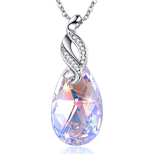 BONLAVIE Waterdrop Pendant Necklace Colorful Austrian Crystal White Gold Plated Chain for Women
