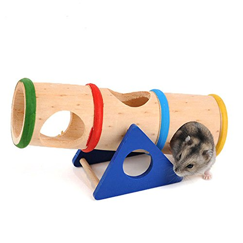 41eHzRn3bBL - SANNYSIS Hamster Seesaw Cage Wooden House Hide Play Toys For Rat Mouse Mice 16.8x7.8x10cm