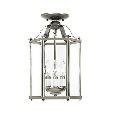 Sea Gull Lighting 5231-962 Bretton Three-Light Semi-Flush Convertible Pendant with Clear Glass Panels, Brushed Nickel - Nickel Lantern Pendant
