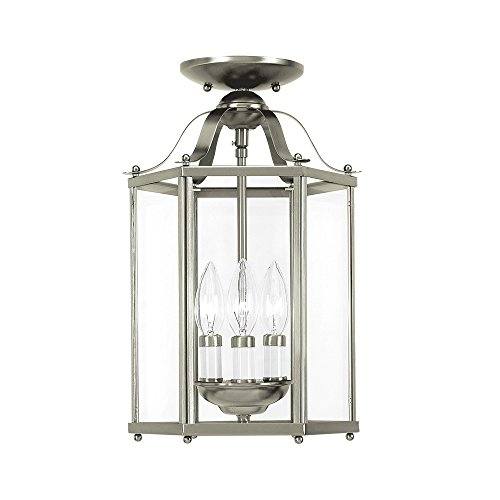 Sea Gull Lighting 5231-962 Bretton Three-Light Semi-Flush Convertible Pendant with Clear Glass Panels, Brushed Nickel (Nickel Lantern Pendant)
