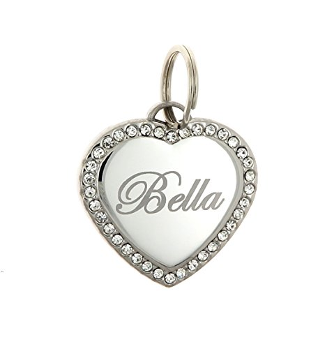 Custom Engraved Personalized Stainless Steel Heart Swaroski Zirconia Dog Pet ID Jewelry Bling Tag from Yippo Accessories