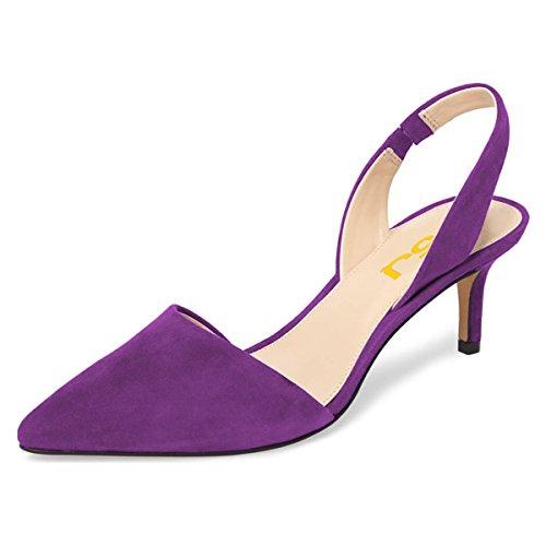 FSJ Women Fashion Low Kitten Heels Pumps Pointed Toe Slingback Sandals Dress Shoes Size 12 Purple