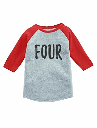 Tstars 4th Birthday Gift for 4 Year Old Child 3/4 Sleeve Baseball Jersey Toddler Shirt 5/6 Red by Tstars