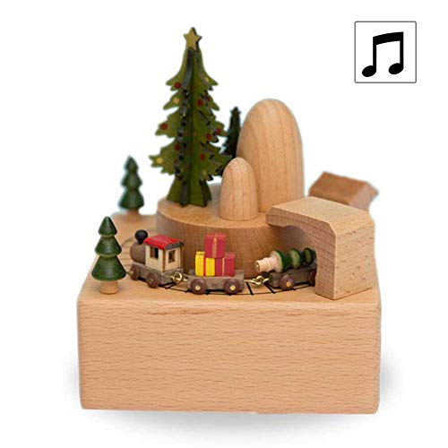 Leegoal Wooden Musical Box, Christmas Train with Moving Magnetic Car Clockwork Music Box, Plays Merry Christmas Song Creative Gift for Christmas Birthday Valentine's ()