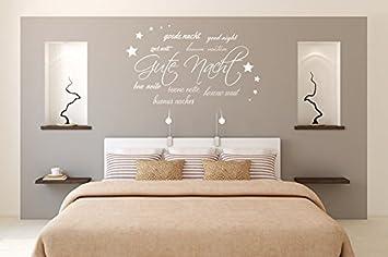 Wandtattoo Sprüche Wortwolke Gute Nacht Nr 1 Wanddeko Wandsticker  Schlafzimmer Wandaufkleber Größe 60x35, Farbe Weiß