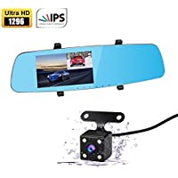 Apleye Dash Cam, 5.0IPS Screen 170° Wide Angle Full HD 1296P Upgraded Dual Car Camera Video Recorder for Vehicles Front and Rear Mirror Dashcam DVR with Parking Mode G Sesor Superior Night Vision