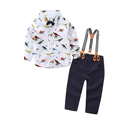 Pants Shirt Bib (YDuoDuo 0-3T Baby Toddler Boy Gentlement Fall Outfits Long Sleeve Dinosaur Shirt + Bowtie + Bib Pants Overall Clothes Set)
