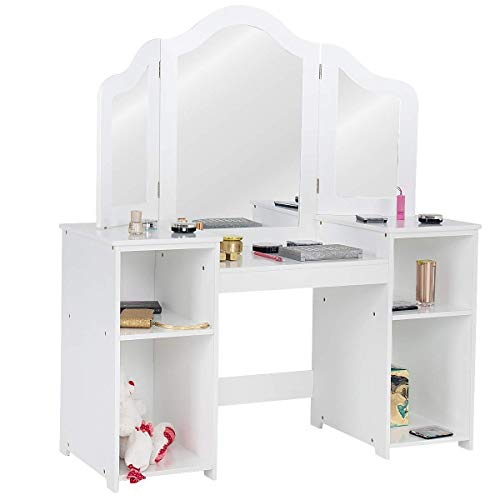 Costzon Kids Vanity Table, Makeup Dressing Table with Four Storage Shelves Two Folding Plastic Mirrors Children Girls Stool Study Table, White