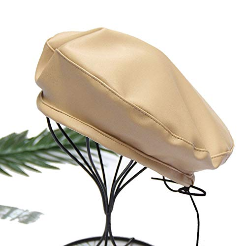 Hat Fashion Women Vintage Beret Cap Cabbie Newsboy Flat Peaked Hat Striped (Beige,One Size)