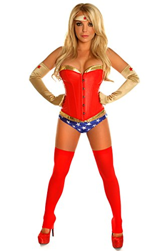 [WW6 Wonder Woman Leather Corset Adult Woman 4 Piece Costume for Halloween and Cosplay Party (S-XXL)] (Womens Costumes)