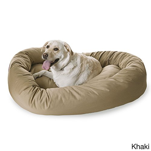 Bagel Bed 52 (Extra Large 1 Piece Khaki Color 52 Inches Bagel Style Donut Plush Pet Bed Dog Puppy Doggy Animal Four Legged Superbly Beautiful Water Proof Soft Cozy Luxurious Comfortable Easy Feel Relax)