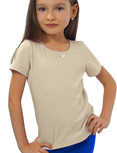 Petite Amelia Little Girls Short Sleeve Embroidery Bow Top, Size 6, - Ma Boston Outlet