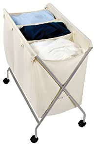 Pro-Mart DAZZ 3-Compartment Rolling and Folding Laundry Sorter