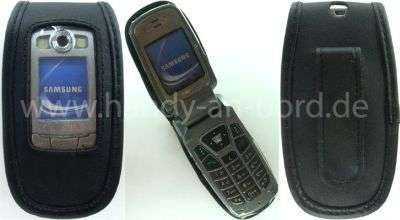 caseroxx Leather-Case with Belt Clip for Samsung SGH-E700 SGH-E710 SGH-E720 Made of Real Leather with Belt-Clip in Black