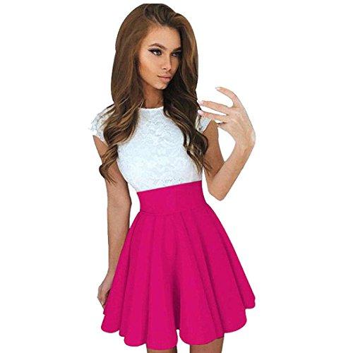 Kangma Women Summer Lace Party Cocktail Ladies Mini Skater Skirt Short Sleeve Dresses Hot Pink