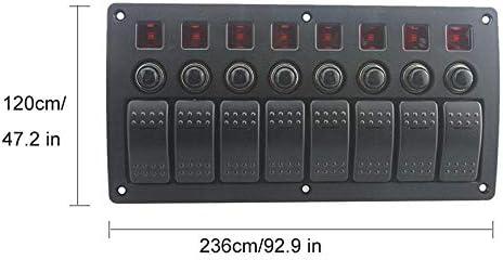 JPLLYY 自動車ボート電気スイッチキット用ボートRV車のためのユニバーサル20A 8ギャング赤LED ON-OFFロッカースイッチパネル