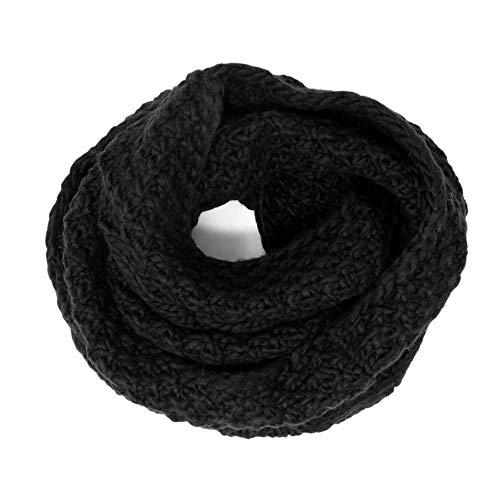 Tacobear Bufanda Mujer Invierno Loop Bufanda Circulo Cuello Bufanda Gruesa Caliente Bufanda de Punto para Mujer Hombre (Negro)
