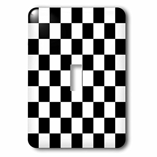 3dRose LLC lsp_154527_1 Check Black and White Pattern Checkered Checked Squares Chess Checkerboard Or Racing Car Race Flag Single Toggle (Flag Single Toggle Switch)