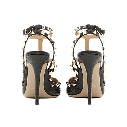 Stud Toe Sandals Leather 4 Chris Gold T Black Slingback 14 Strappy Heels Studded High Pointed Pumps Litchi Stilettos US Women 44HtfP