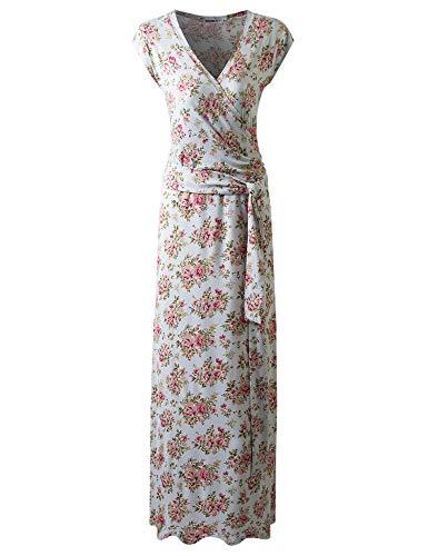 (CLOVERY Women's Solid Self-tie Surplice Maxi Faux Wrap Dress MINTFLORAL L)