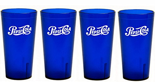 (PEPSI Classic Script Logo Royal Blue Plastic TuMblers Set of 4 - 16oz)