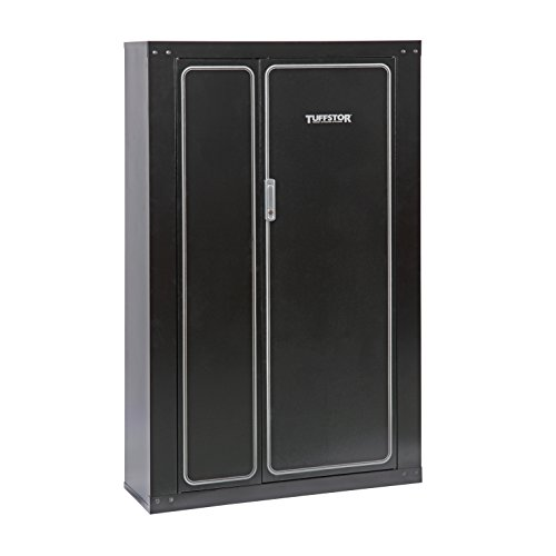- American Furniture Classics Gun Security Cabinet 16 Gun Metal Security Cabinet with Two Doors & 3 Pt. Locking System