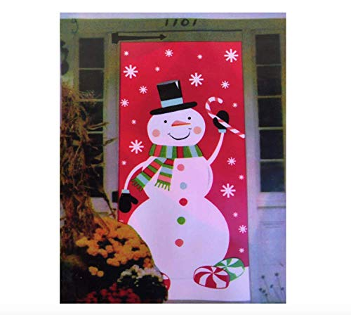 Midwood Brands, LLC Christmas Door Covers - Santa Christmas Lights, Christmas Eve, Gingerbread House, Snowman Penguin Sled Ride (Snowman Candy Cane