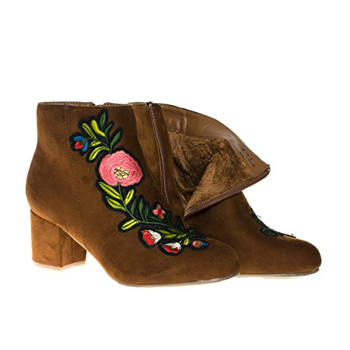 Autumn15s Chnfs Floral Embroidery Ankle Bootie On Block Heel   Faux Fur Lining  8